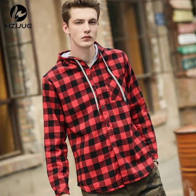 HZIJUE Kanye Hip hop Streetwear Plaid Shirt Men High Street Fashion Swag Clothing Loose Hipster Longline HOOD Chemise Homme