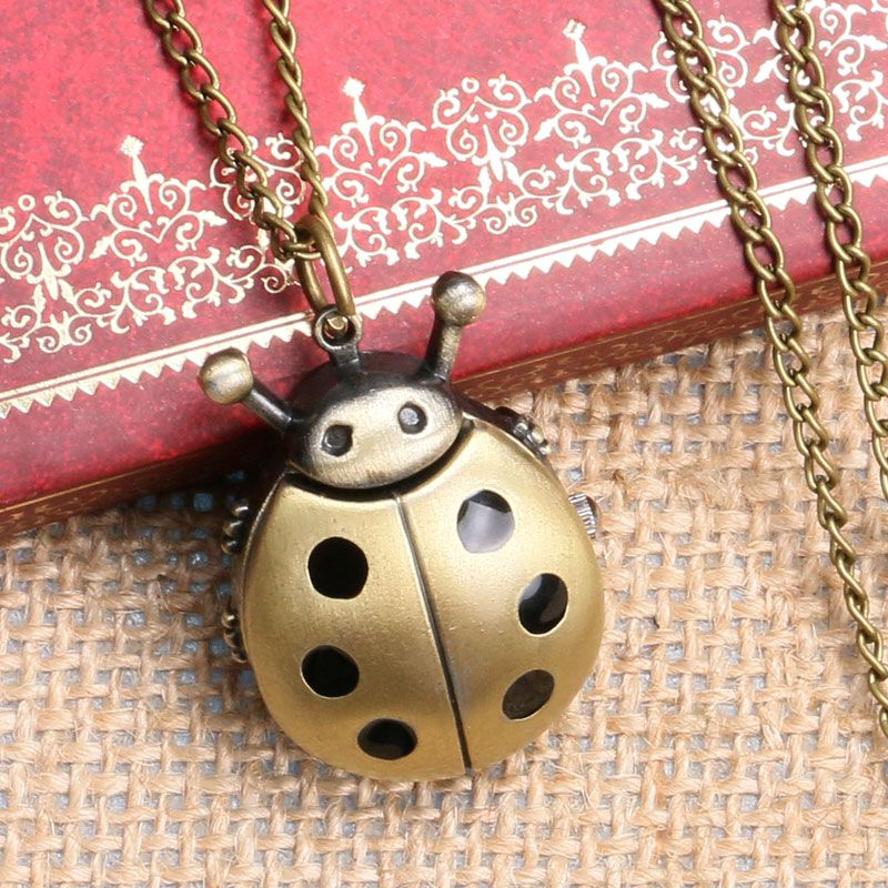 2019 New Bronze Ladybug Design Fob Pocket Watch With Necklace Chain To  Kids Girls Women Children' Day Gift