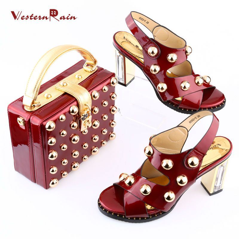 WesternRain Italian New Design Patent leather Shoes And Matching Bags Set  African Women Pumps Ladies big size shoes for Dame