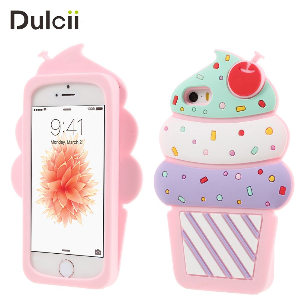DULCII for iPhone 5S SE 5 6 6s Plus 7 8 Plus Cases 3D Cherry Ice Cream Silicone Smartphone Back Cover for iPhone SE Capa Fundas