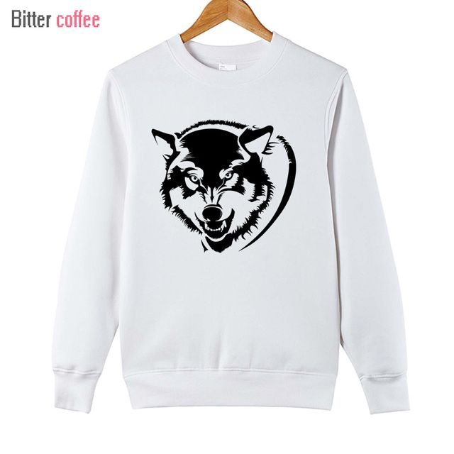 2018 Autumn and winter Hot Sale Men Wolf Head Printed Hoodies tops Casual Unique Design Printed Hoodies & Sweatshirts