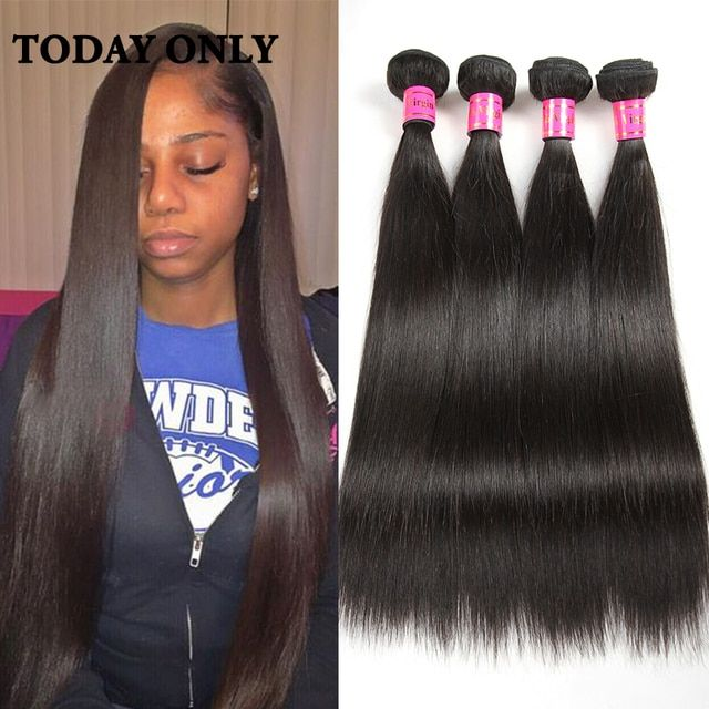 Peruvian Straight Virgin Hair Bundle Deals 4 Bundles Straight Human Hair 10A Grade Peruvian Virgin Hair Weave Today Only Hairs