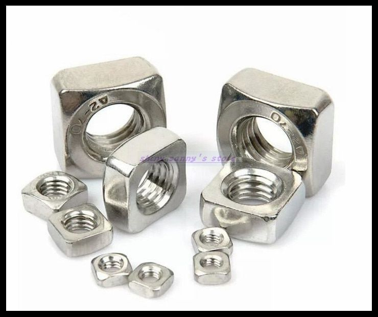 Metric Thread DIN557 M3 M4 M5 M6 M8 M10 304 Stainless Steel Square Nut Screw Nut Square Nuts Hardware Nut A2-70 Brand New