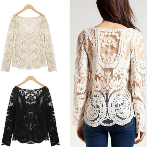 Blusas Femininas 2016 Women Embroidery Crochet Lace Long Sleeve Hollow Blouses Casual O-Neck Blouse Shirt Plus Size Tops