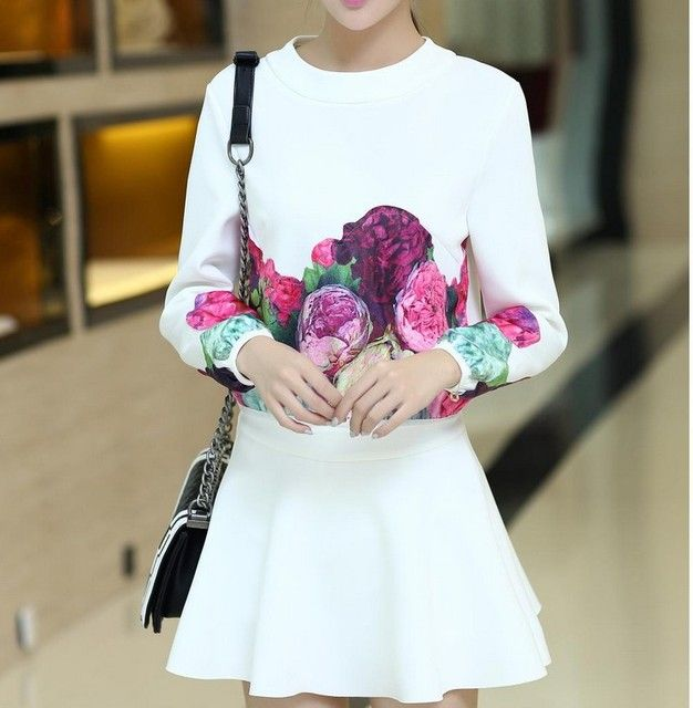 2016 elegant Black white summer springHoodies Sets Cute Casual Skirt Suits Women Sweet Top And Skirts Sets Women 2pcs Set