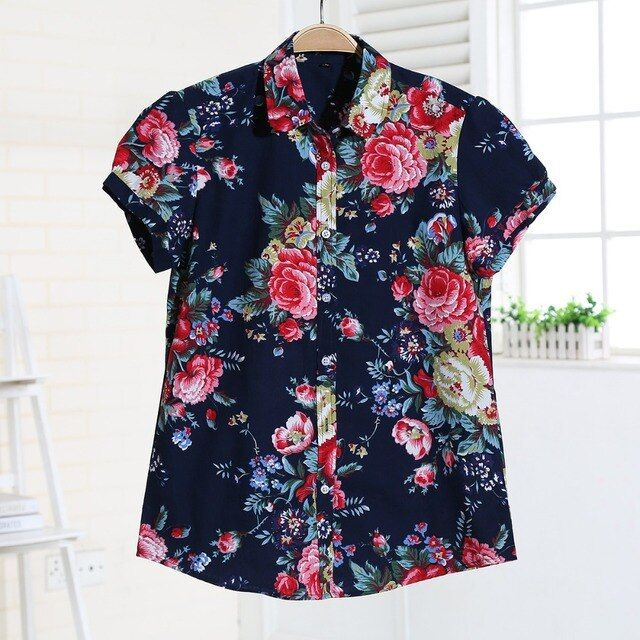Short Sleeve Women Shirts Floral Women Blouses Fruit Blusa Ladies Tops Camisa Feminina Cotton Tops For Girls Vintage Blusas 2016