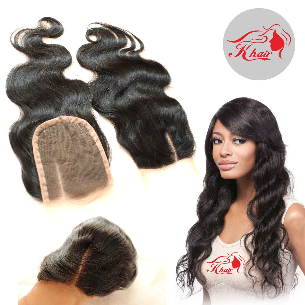 Lace Closure 8A Brazilian Virgin Side Middle 3 Part Hair Closure Brazilian Human Hair Body Wave 4X4 Bleached Knots Top Closure