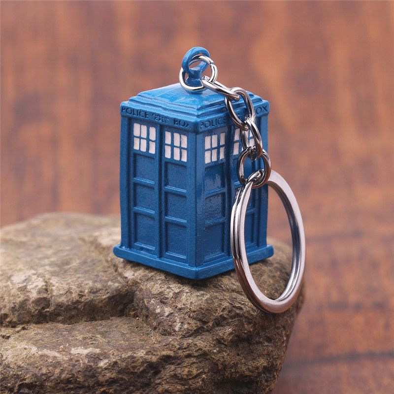 Dr Who Blue TARDIS Police Box Keychain Copper Alloy Metal Key Rings For Gift Key chain Jewelry for Car Dr Who Keychain