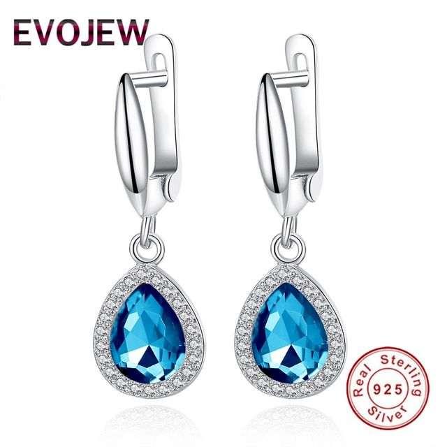 100% 925 Sterling Silver Blue Water Drop Dangle Earrings For Women Party Engagement Wedding Jewelry With AAA CZ Gifts