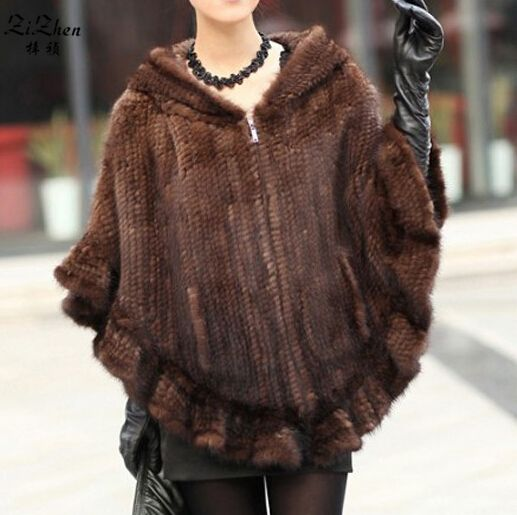 Women's Winter Fashion Warm Natural Genuine Real Mink Fur Cape Cloak Poncho Shawl With Hood Plus Size 20131021-3
