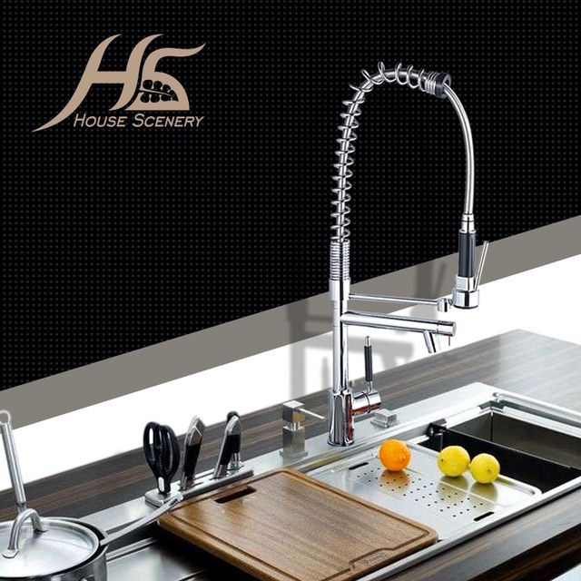 House Scenery Tap Good Quality Kitchen Mixer Faucet Chrome Solid Brass Water Power Swivel Spout Pull Out Vessel Sink