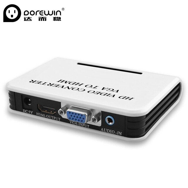 Dorewin VGA to HDMI Converter Box 1080P HD Interface VGA female to hdmi female with audio port computer convert to TV Projector