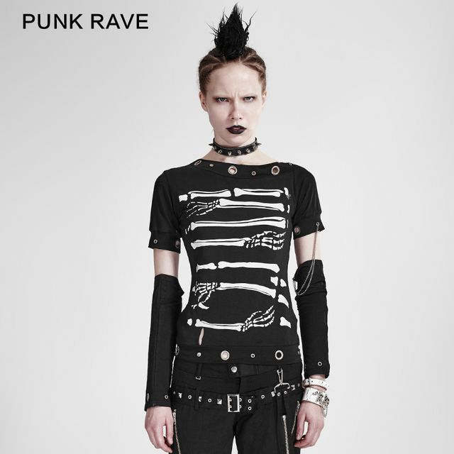 PUNK RAVE  cool punk black summer T-shirt for woman with detachable sleeves T-178