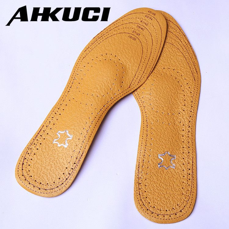 AHKUCI Leather Arch Support Full Cushion Activated Carbon Sweat Shock Absorbent Insoles Orthotic Care Shoes Pad