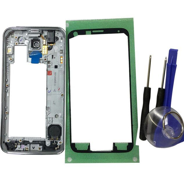 Mtmaiten Original Middle Frame Bezel Chassis Housing case for Samsung Galaxy S5 Neo G903 G903F middle frame Silver with Tools