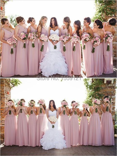 Dusty Pink Bridesmaids Dress Gowns One Shoulder Vestido De Festa Long 2017 A-Line Natural Waist V Neck Sleeveless Ruched Elegant