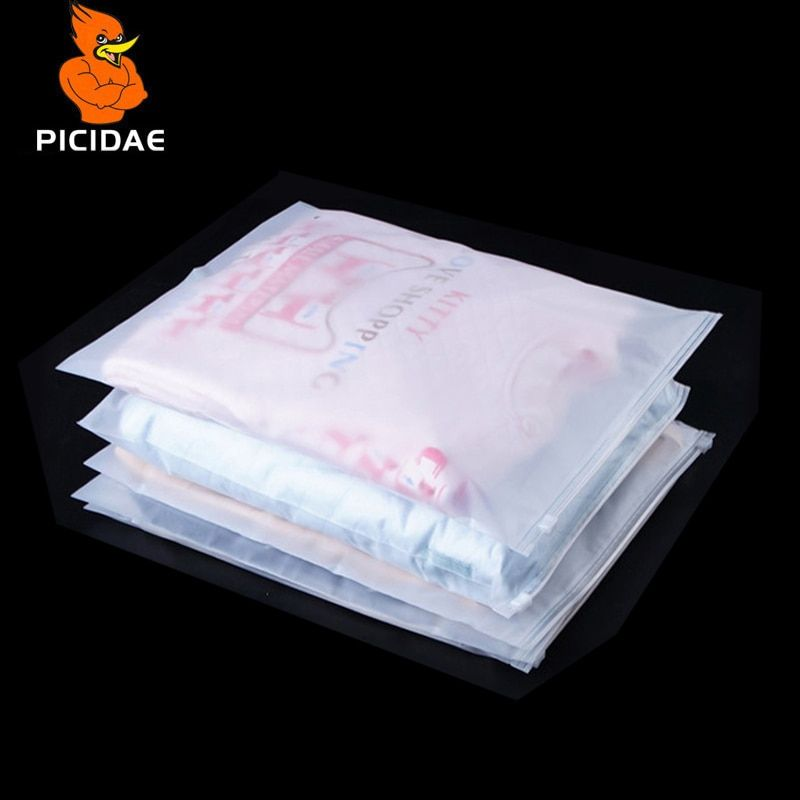 Frosted Translucent Clothing Storage Packaging Zipper Plastic Pouch Matte Reusable Zip Lock Garment Package Dress Self Seal Bags