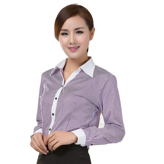 Blouses Shirts 2018 Office Lady Work Wear Plus Size Long Sleeve Cotton Basic Shirts Formal Women Blouses Tops Blusas Femininas