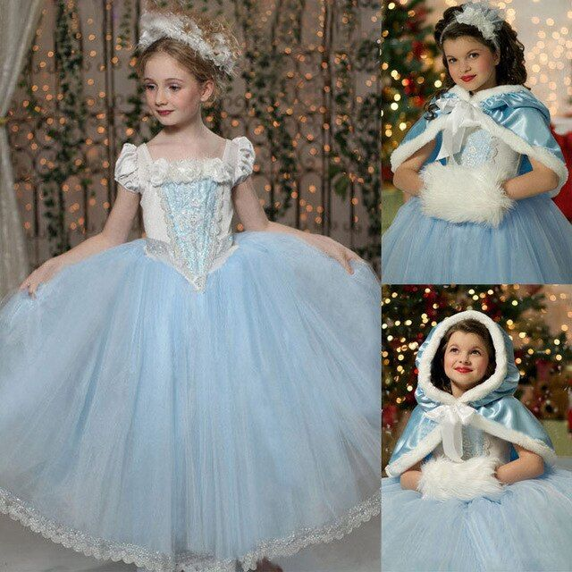 Minnie Girls Clothes Sale Top Fashion Petal Sleeve Solid Elsa Girl Dress Snow Romance S Lace Girls Cloak Wear One Generation