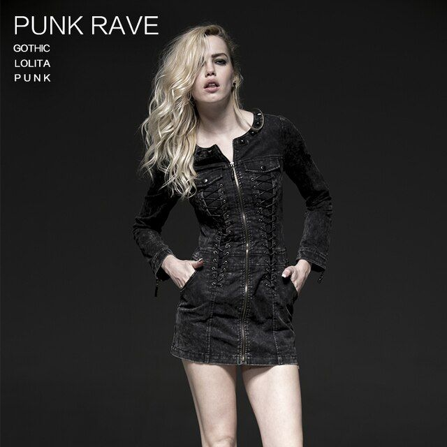 PUNK RAVE black long-sleeve dress with vintage wash and zippers Q-226