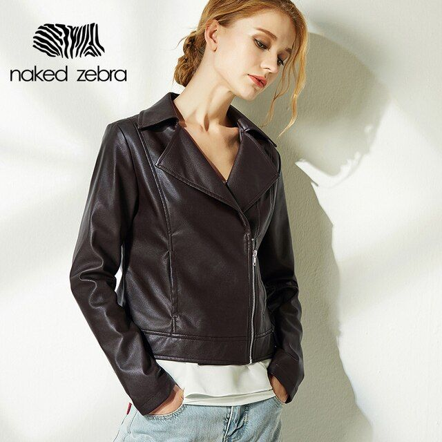 Naked Zebra New Autumn Jacket PU Leather Full Sleeve Solid Color Locomotive Wind Jackets Cool Turn-Down Collar Leather Coats