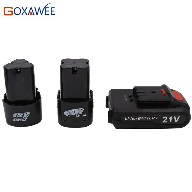 Goxawee 21V Rechargeable Cordless Electric Screwdriver Lithium Batteries For Screwdrivers Drill Battery 12V, 16.8V,21V