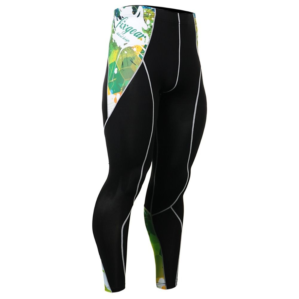 Male Compression Pants Skinny Tights Men's Green Athletics Training CrossFit Fitness Running Marathon Base Layer Leggings
