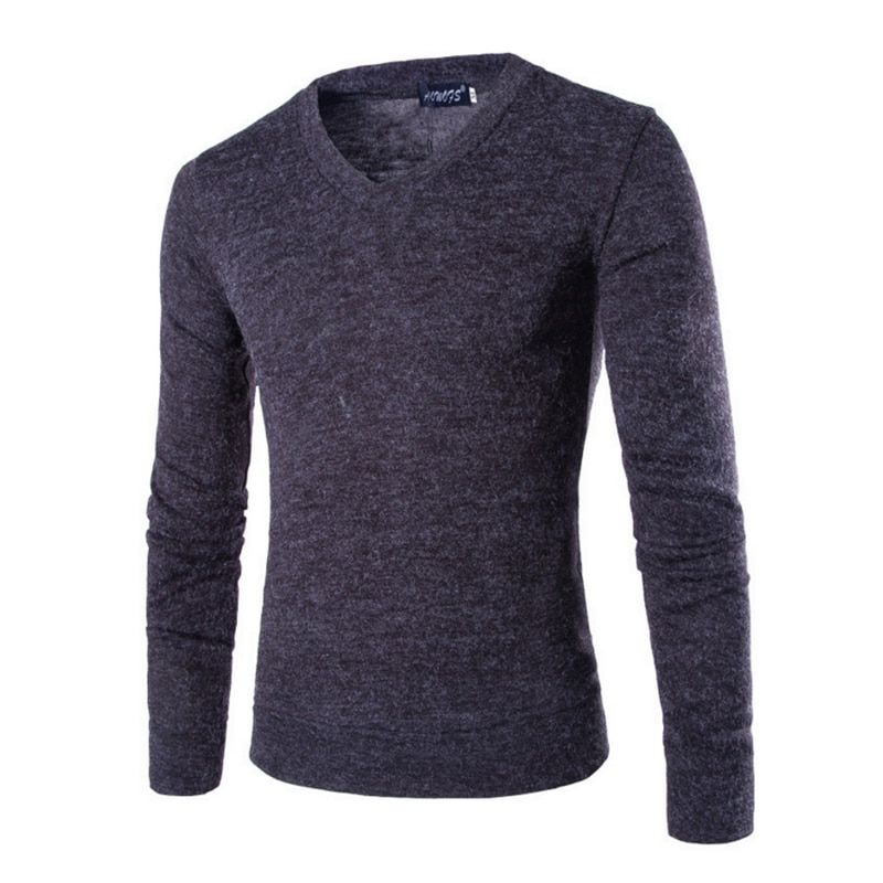 2016Fashion Mens Sweaters Solid Knitted Jumpers Slim Tops Casual Pullover V Neck