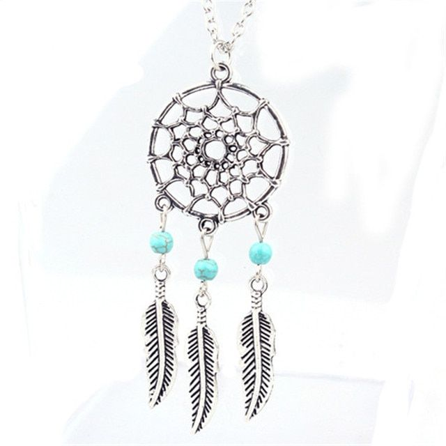 Collier Plume Pendentif Feuille Attrape-Reve Tribal Femme Dream Catcher Pendant Feather Necklace For Sale #BS4001