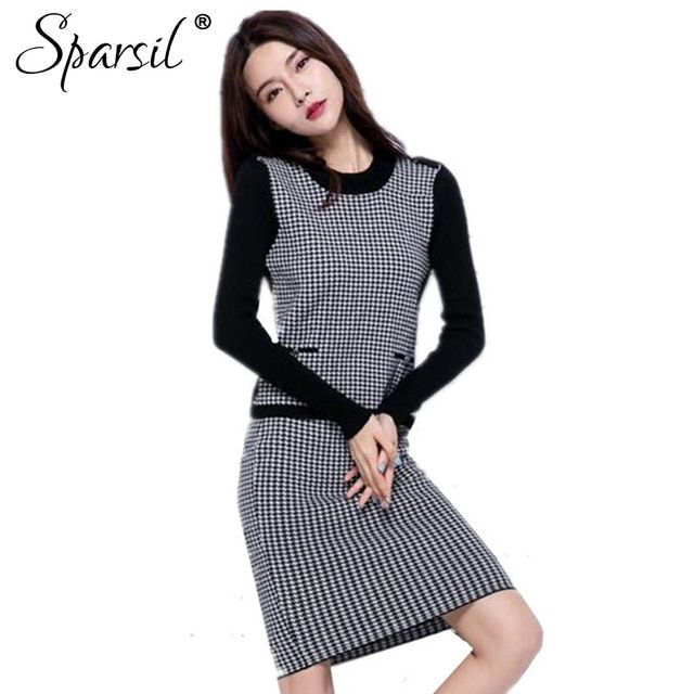 Sparsil Women's Autumn O-Neck Cashmere Blend Knitted Pullover +Mini Skirt/Set Female Black&White Plaid Printed Knitwear Sweater