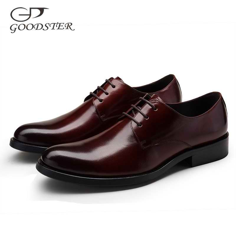 Goodster Round Toe Black Brown lace Up Solid Genuine Leather Spring/Autumn Formal Wedding Office Work Men's Dress Shoes GSTD014