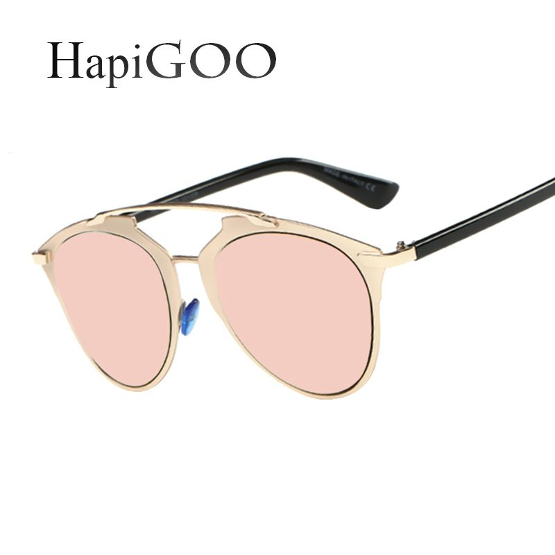 HapiGOO VIntage Cat Eye Sunglasses Women Fashion Female Brand Designer Mirror Sun Glasses Ladies Retro Rose Gold Cateye Eyewear