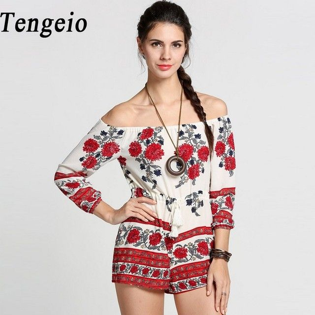 Tengeio Overalls For Women Summer Chiffon Off Shoulder Floral Jumpsuit Romper 3/4 Sleeve Drawstring Boho Sexy Combishort 610