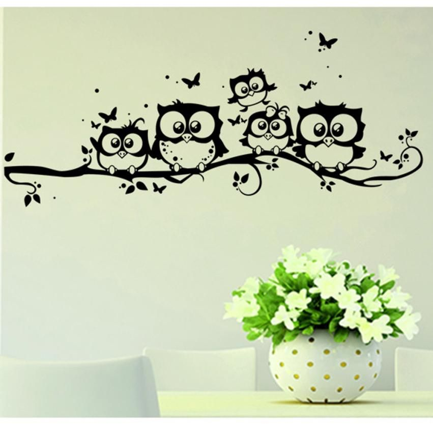 wall sticker tree animals bedroom Owl Butterfly Wall Sticker home decor living room butterfly for kids rooms vinilos paredes *20
