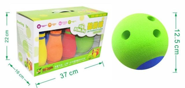 Eco-friendly rubber 12.5cm diameter Bowling balls 20CM height Bowling bottle  Bowling set Children sports toy