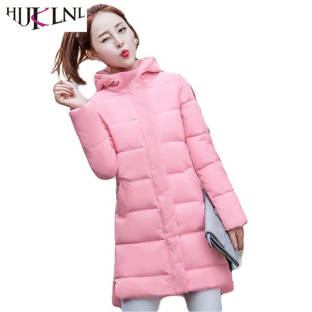 HIJKLNL 2017 Women winter coat wadded jacket With Hat Long Jacket Thickening Hood Abrigos Female Snow Wear Jacket Women JX021