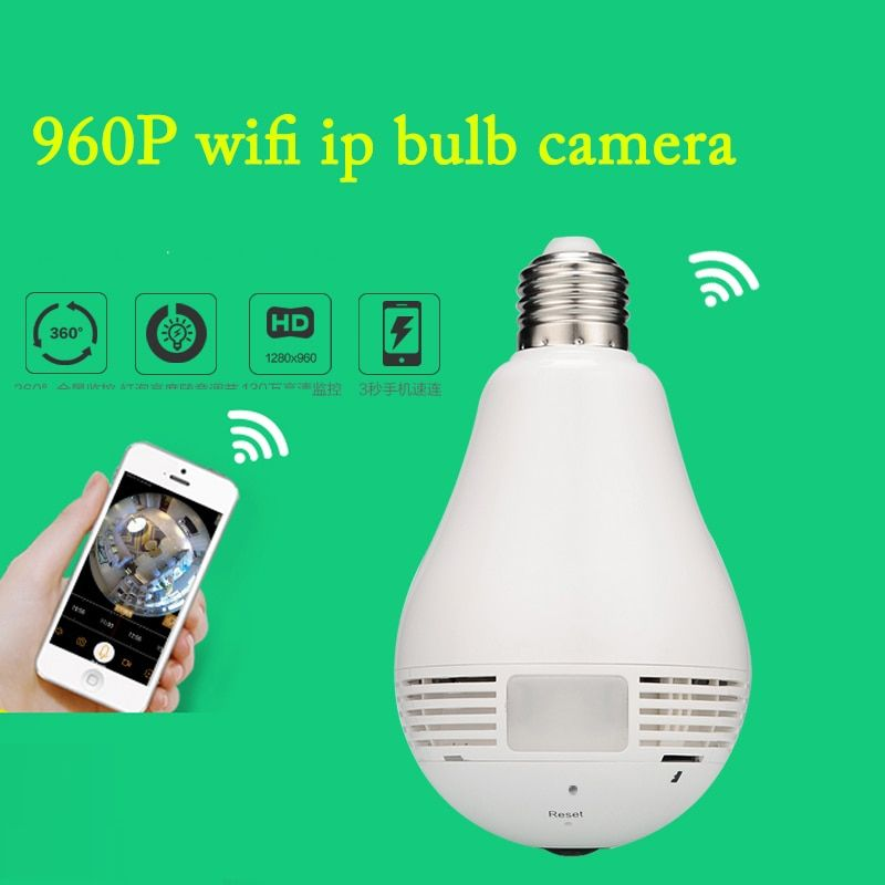 Bulb Light Wireless IP Camera Wifi Home Security  960P Fisheye 360 Degree Panoramic Camera P2P Security Camera Motion Detection