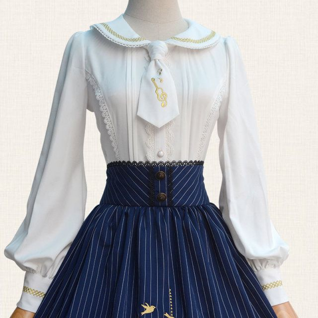 Good Qaulity Golden Violin Embroidery Lolita White Blouse Peter Pan Collar Neck Tie Lace Trim Cute Long Lantern Sleeve Shirt