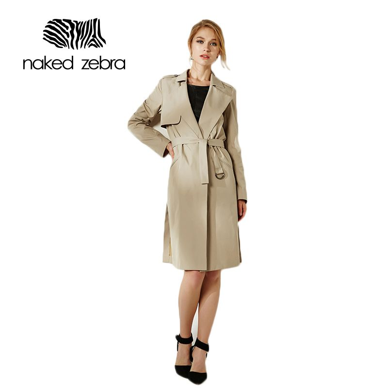 NAKED ZEBRA 2016 Korean style Office elegant Three colors drawstring Waist Long trench coat for women Casual windbreaker female