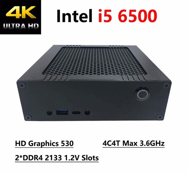 ICLEMON DIY MINI PC 8G RAM 128G SSD With Intel i5 6500 4C4T 3.6GHz, 4K Intel HD Graphics 530, 2*DDR4 Slots, Windows 10Pro HTPC