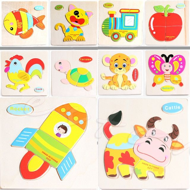 New Wooden Animal Kids Children Educational Development Toys Cartoon Puzzle Gift