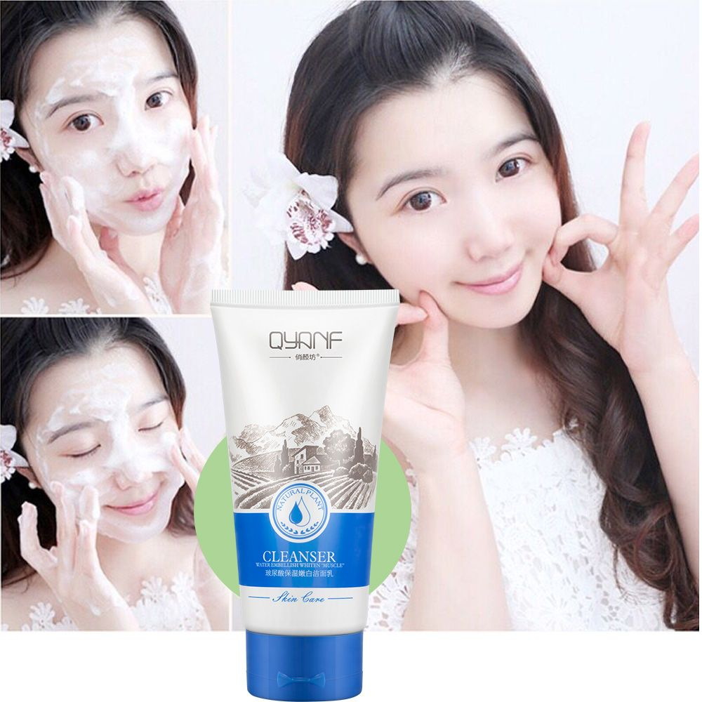 QYF hyaluronic acid facial cleanser 120g moisturizing whitening oil control acne beauty skin care products skin cleaner