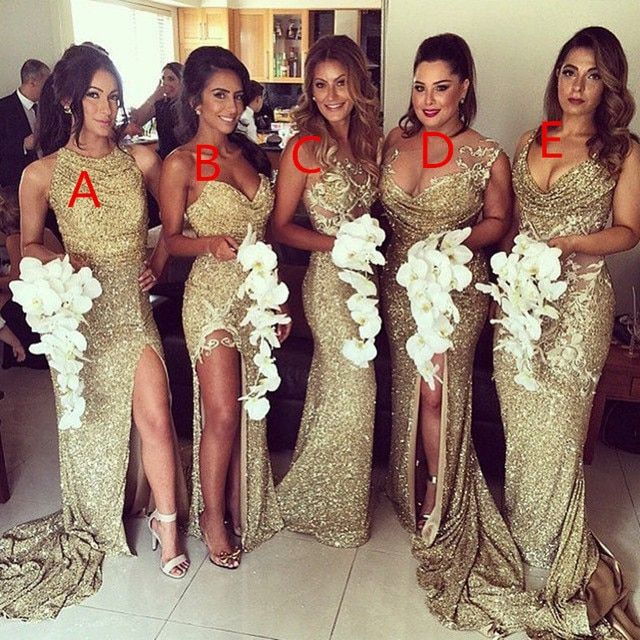 Sexy Sequins High Slit Mermaid Gold Bridesmaid Dresses Sequins Backless Different Neckline Elegant Prom Gowns