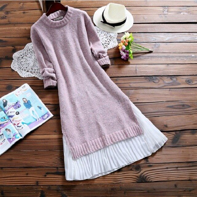 2019 Spring Autumn Women Midi Dress Round Neck Knitted Chiffon Patchwork Sweater Dress Casual Elegant Long Sleeve Split Dresses
