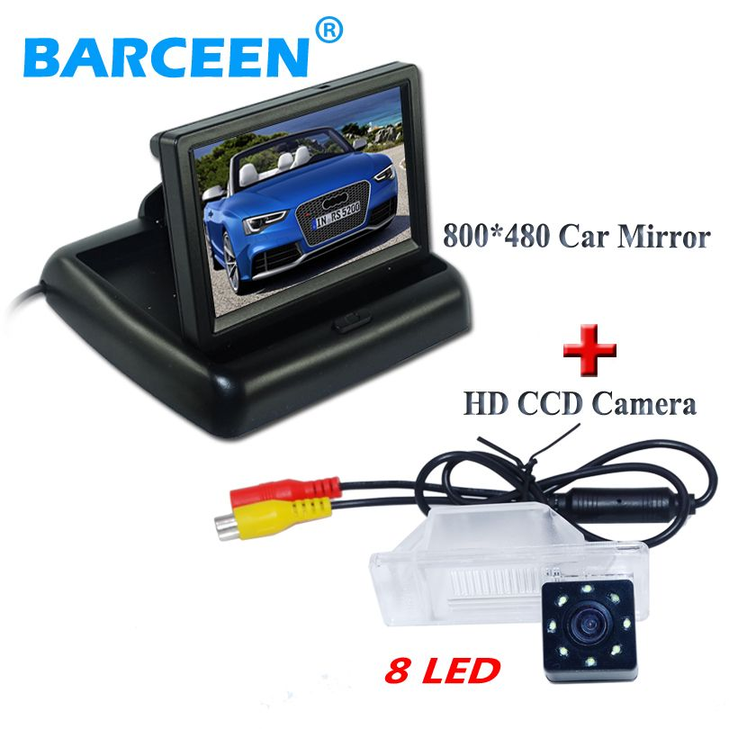 "4.3"" screen +waterproof +8 led car reversing camera +car rear monitor use for NISSAN QASHQA/ X-TRAIL for Peugeot 307 Hatchback"