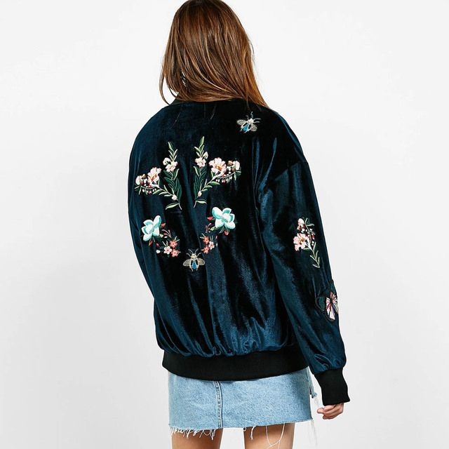 Vintage Velvet Blooming Floral Appliques Patch Designs Embroidery Jacket Single-breasted Bomber Pocket Coat Pilots Outerwear Top