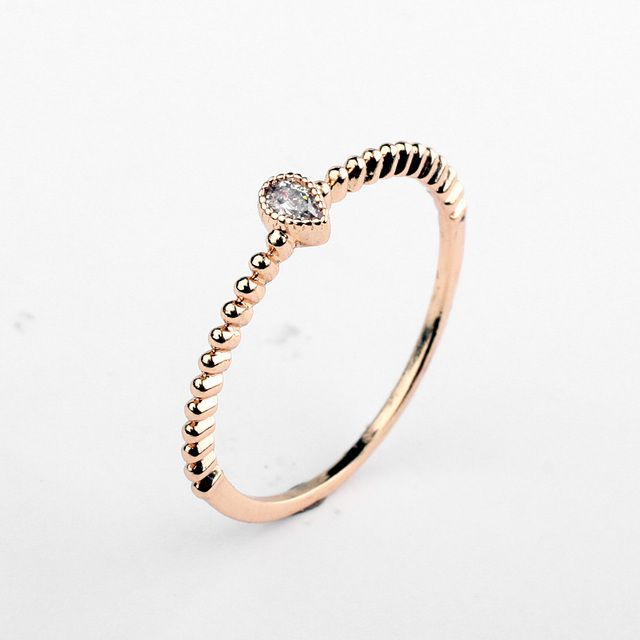 2018 Brand Real Austrian Crystal  Rose gold Color Zirconia Water Drop Simple  Rings for Women Anti Allergies 97586