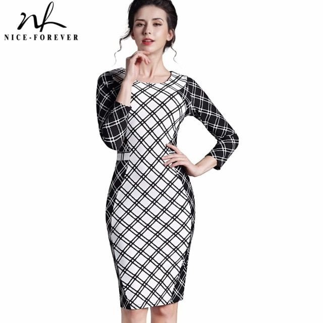 Nice-forever Autumn Business Elegant Abstract Plaid Women Round Neck 3/4 sleeve Sheath Dress Bodycon Work Pencil dress B229