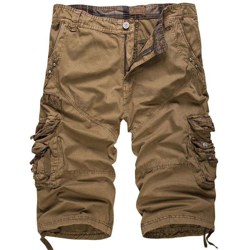 New Men Cargo Capri Shorts Homme Camouflage Khaki Casual Straight Loose Fit Shorts Bermuda Cargo Short Bermuda Cropped Trousers