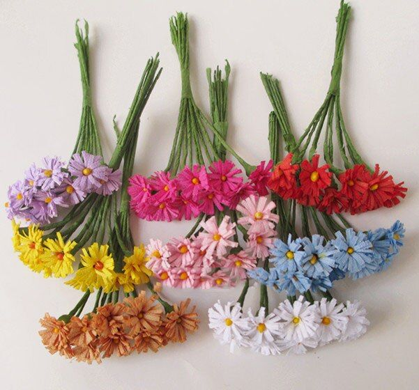 artificial flowers head DIY wreath small bouquet of mini Gerbera daisies decorative flower 1.2CM